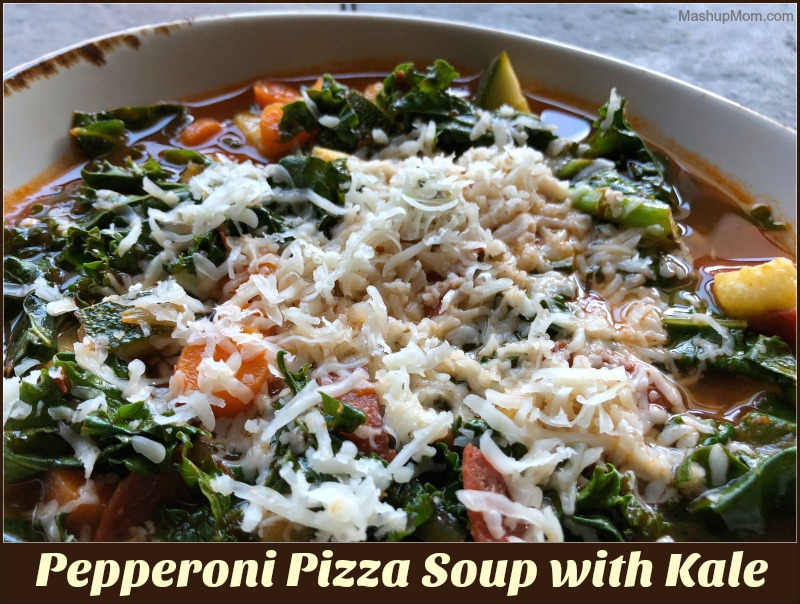 pepperoni pizza soup with kale