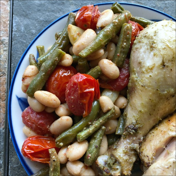 pesto drumsticks and green beans