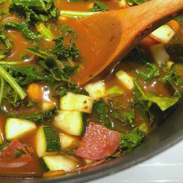 pot of pizza soup