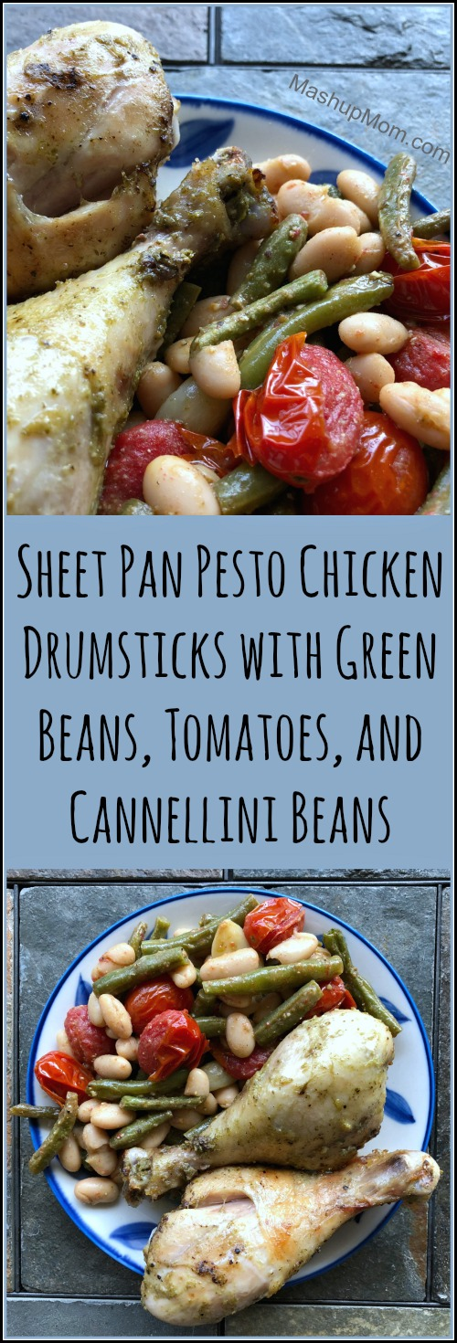 sheet pan pesto drumsticks with green beans