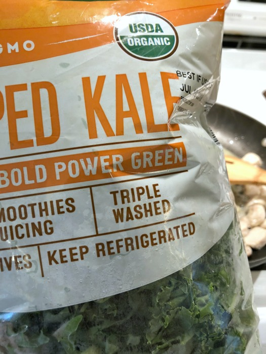 bag of chopped kale