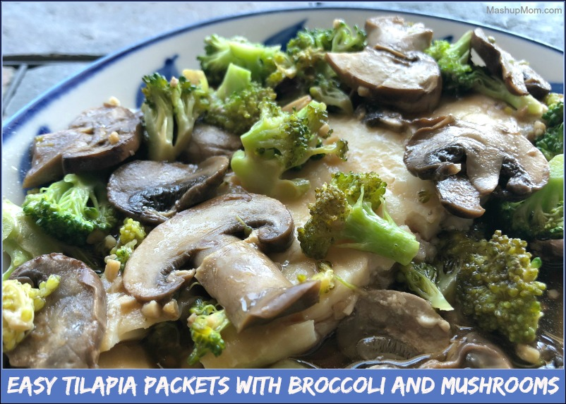 tilapia with mushrooms and broccoli