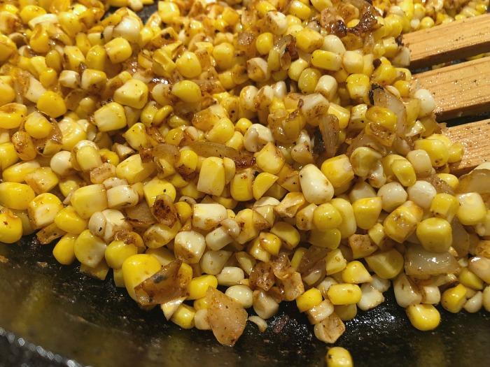 corn in a pan