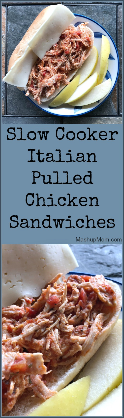 slow cooker pulled Italian chicken sandwiches