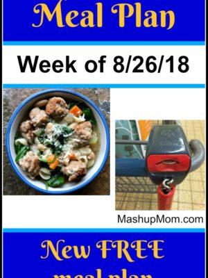Free ALDI Meal Plan week of 8/26/18 – 9/1/18