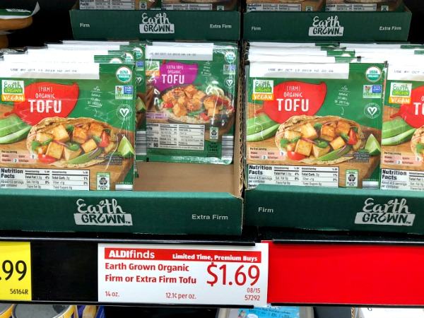 earth grown organic tofu at aldi shelf tag