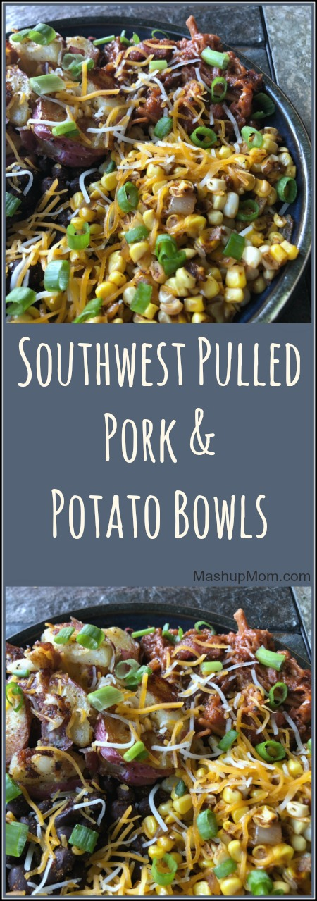 southwest pulled pork and potato bowls