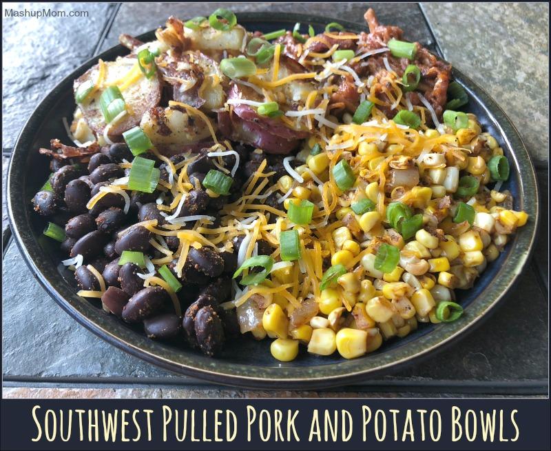 southwest pulled pork and potato bowls