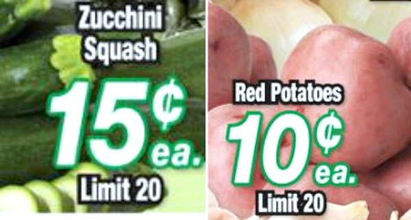 potatoes and zucchini on sale