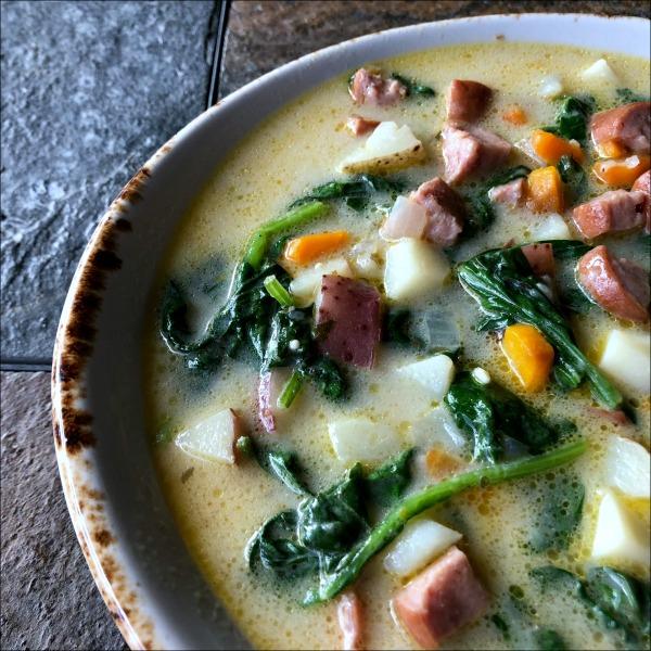 bowl of sausage and potato soup