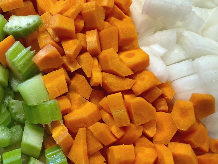 chopped carrots celery and onion