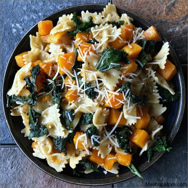 plate of butternut squash & kale pasta