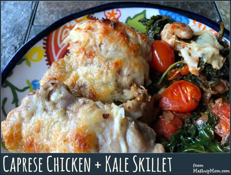 caprese chicken + kale skillet