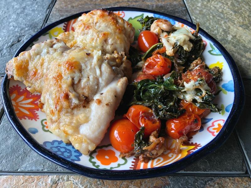 caprese chicken tomato + kale skillet