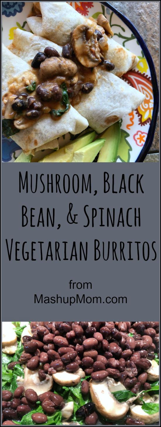 mushroom & black bean veggie burritos