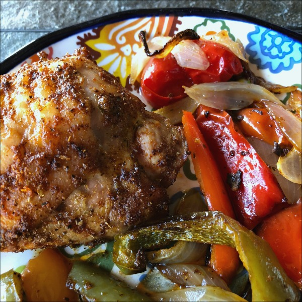 plate of chicken and peppers