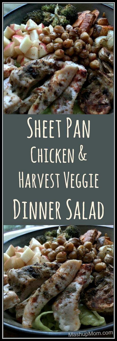 sheet pan chicken and harvest veggie dinner salad