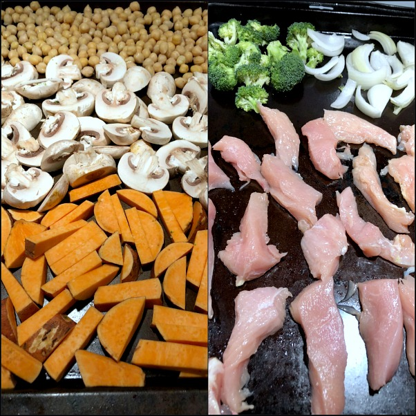 sheet pans of chicken and veggies