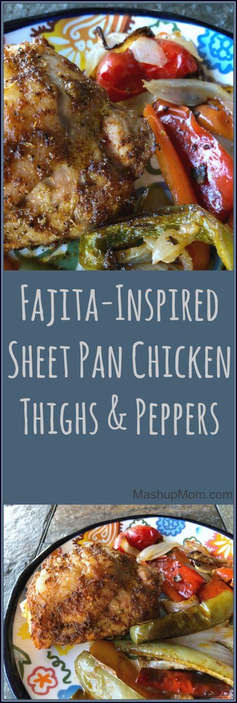 fajita sheet pan chicken thighs and peppers