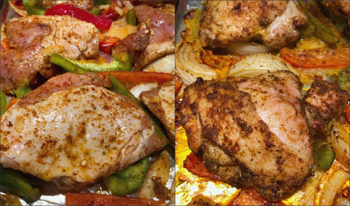 sheet pan chicken cooked and uncooked