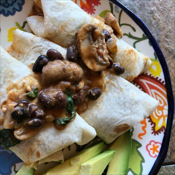 mushroom, black bean, and spinach vegetarian burrito bowls for National Burrito Day