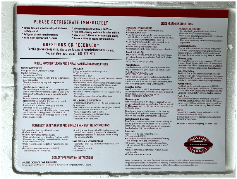 Boston Market heating instructions