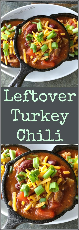 Plated leftover turkey chili