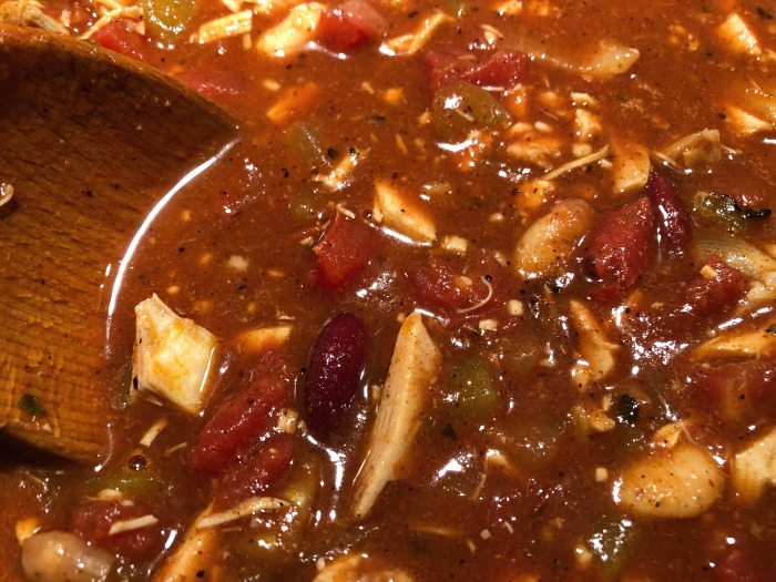 pot of turkey chili
