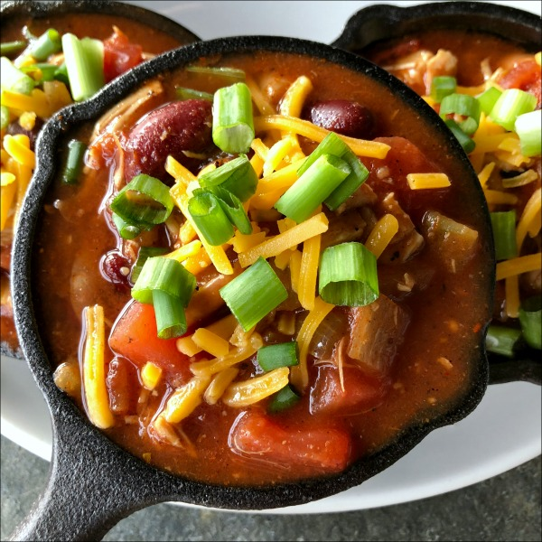leftover turkey chili is easy to throw together with leftover turkey plus pantry staples