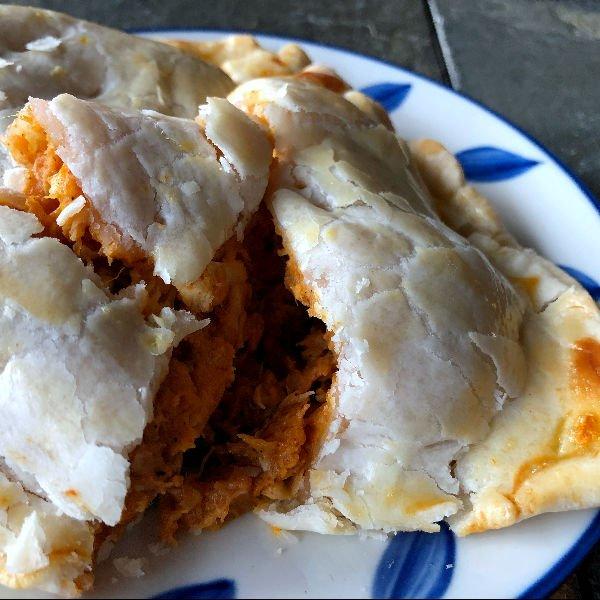 sweet potato hand pie with chicken, cut open