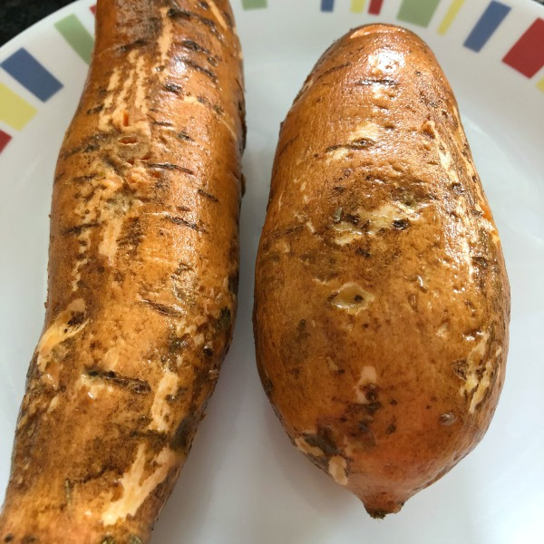two sweet potatoes on a plate