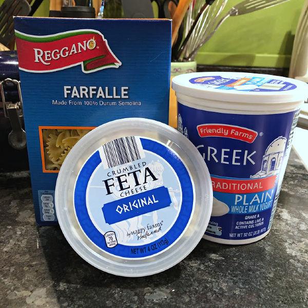 ALDI noodles, feta, and yogurt