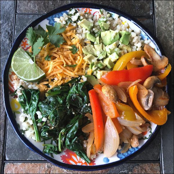 low carb veggie fajitas with cilantro lime cauliflower rice