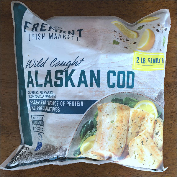 bag of wild caught cod fillets from ALDI