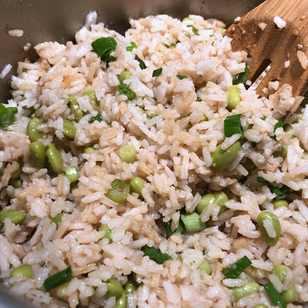 edamame rice with green onions