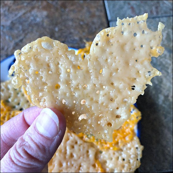 heart shaped parmesan cheese crisp