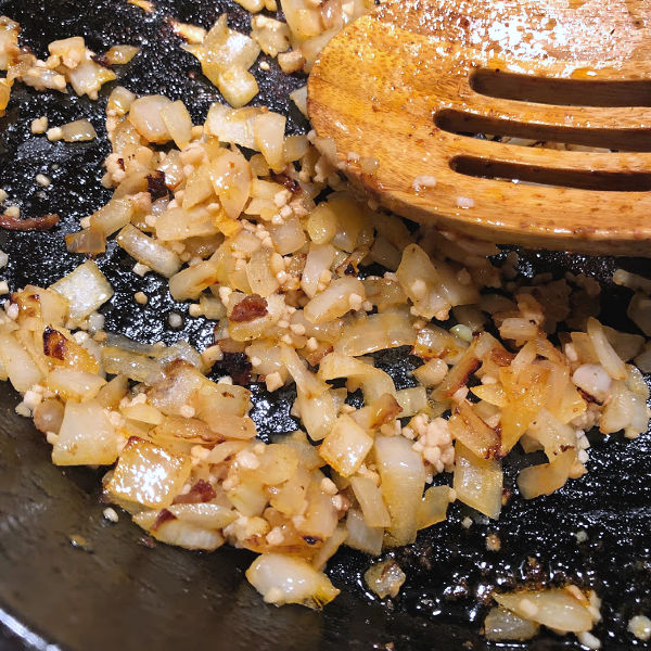 browned onion in a skillet