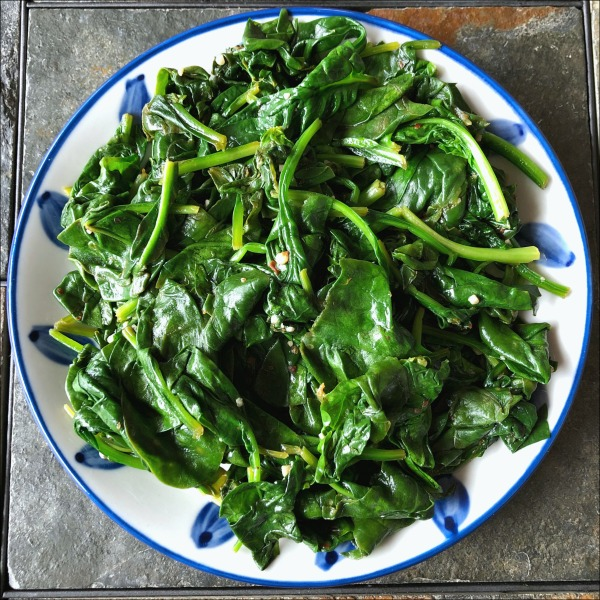 plate of sauteed spinach
