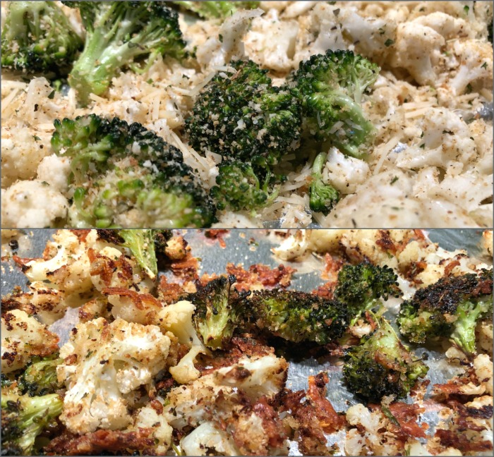 cruciferous crumble before and after roasting