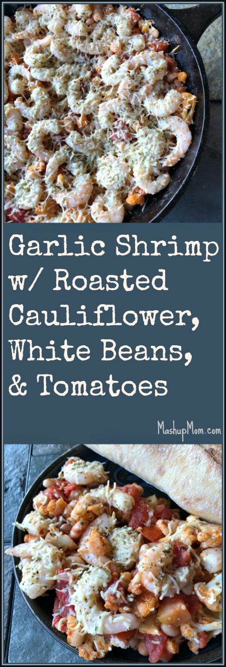 garlic shrimp with roasted cauliflower white beans and tomatoes