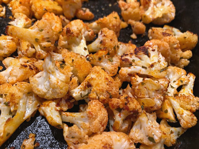 roasted cauliflower in a skillet