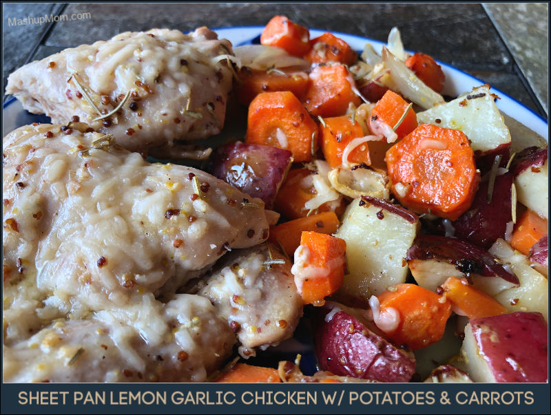 Sheet pan lemon garlic chicken with potatoes and carrots in this week's ALDI meal plan