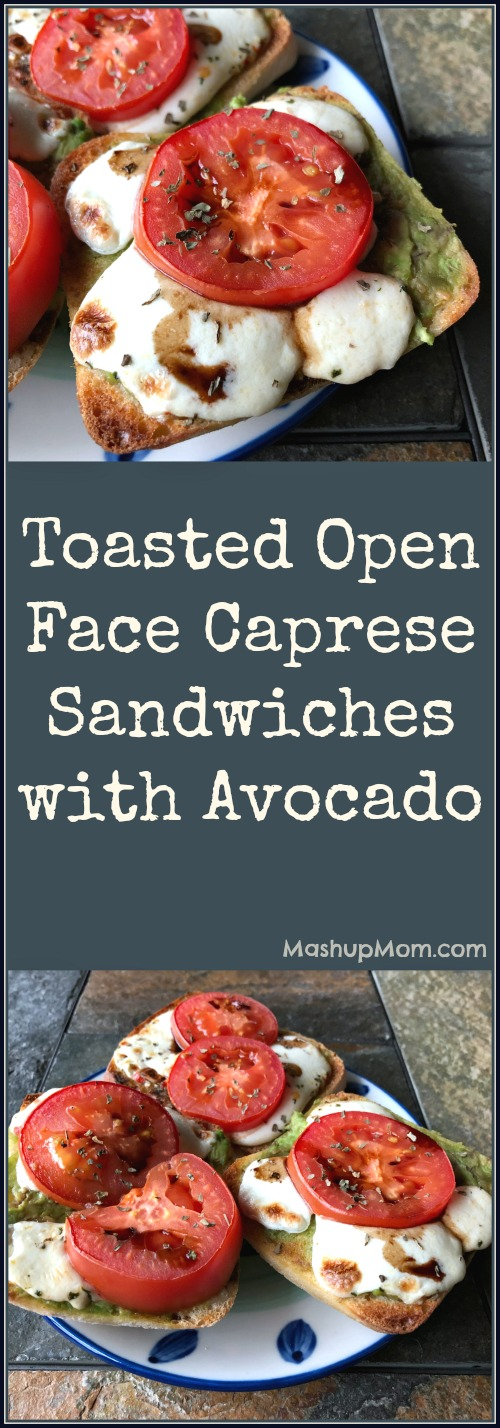 open faced caprese sandwiches with avocado