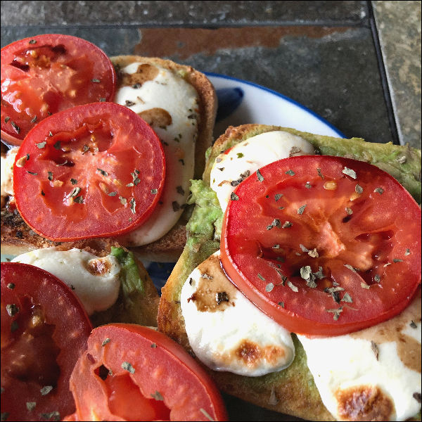 toasted open face caprese sandwiches with avocado -- meatless monday at its best!