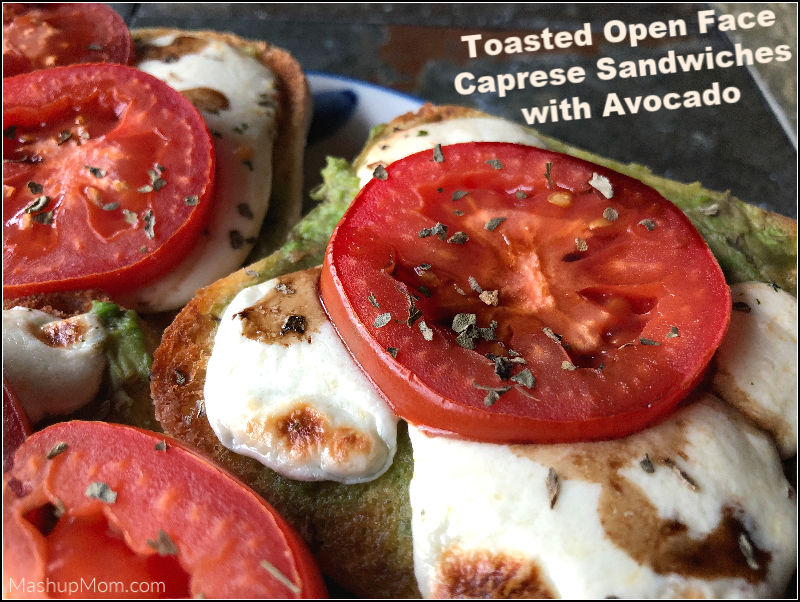 toasted open face caprese sandwiches with avocado