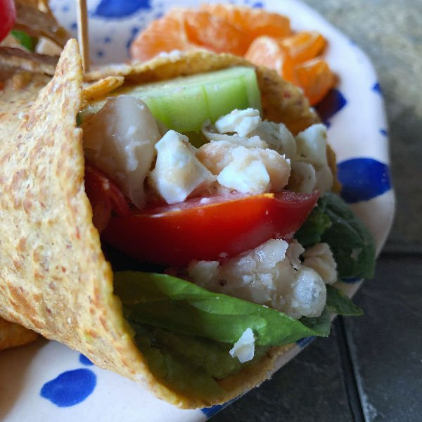 white bean vegetarian wraps with guacamole