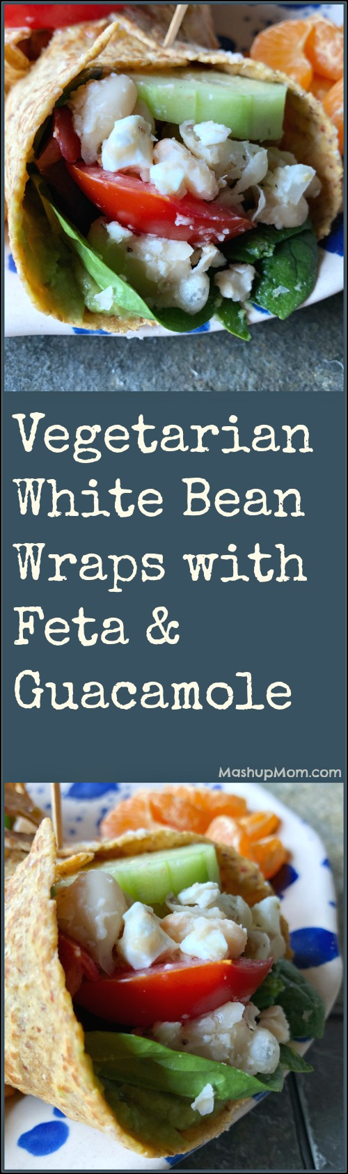 vegetarian white bean wraps with feta & guacamole