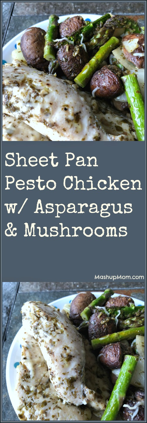 sheet pan pesto chicken, asparagus, and mushrooms