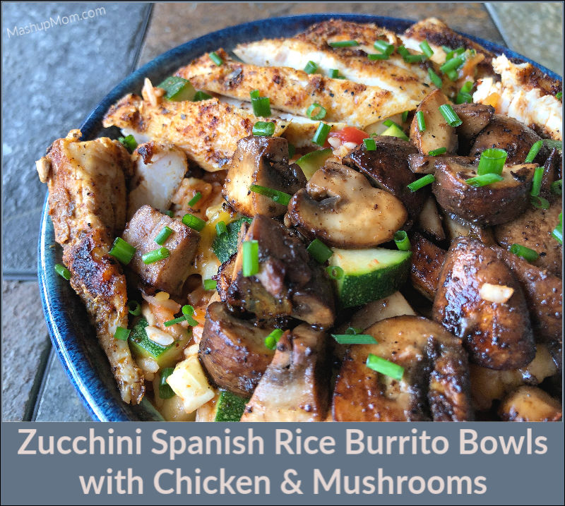 bowl of zucchini spanish rice with chicken and mushrooms