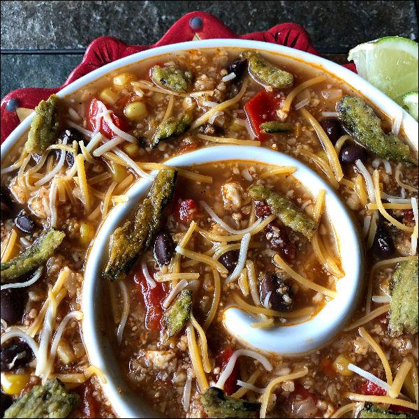 bowl of vegetarian taco soup